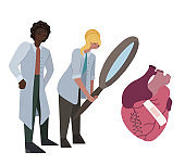 Flat illustration of a couple of international doctors studying the ill heart through magnifying glass. Scientists are studying the heart disease. Vector illustration