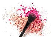 Crushed make-up and brush