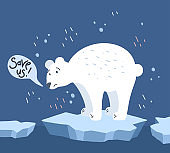Global warming. Cartoon doodle illustration of a sad bear on melted ice with speech bubble. Save us. World problem with call to action.