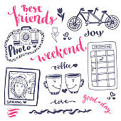 Weekend sketch art romantic set of hand drawn elements with phone booth, photo and bicycle. For greeting card  vector illustration.