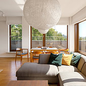 Spacious apartment with big lamps