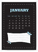 January calendar template. Simple calendar for January month with note sticker.