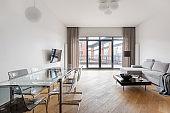 Elegant living room with window doors