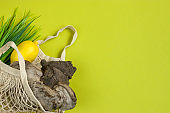 Chaga birch mushroom is a natural antioxidant. Trendy superfoods for diet and immunity in an eco-friendly string bag. lemon on a yellow background. Copy space.