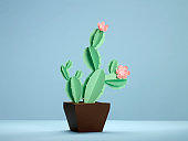 Tropical fashion cactus on purple paper background. Trendy minimal pop art style and colors.
