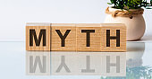 myth word written on wood block. myth text on table, concept. The inscription is reflected, in the background there is a flower in a pot of light brown color.