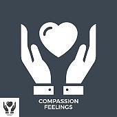 Compassion Feelings Glyph Vector Icon.