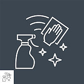 Cleaning related vector thin line icon.