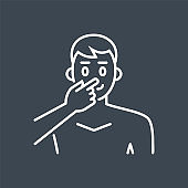 Avoid face touch related vector thin line icon.