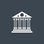 Bank related vector glyph icon