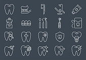 Dental Icons Set. Dental Related Vector Line Icons Set.