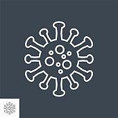 Coronavirus COVID-19 related vector thin line icon.
