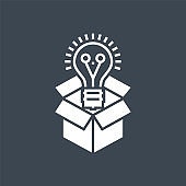 Think Outside Related Vector Glyph Icon
