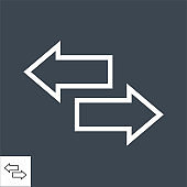Arows Thin Line Vector Icon.