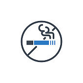 No Smoking related vector glyph icon.