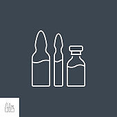 Ampoule and Vial Related Vector Line Icon Set.