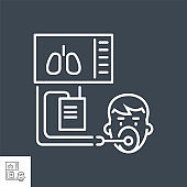Medical ventilator related vector thin line icon.