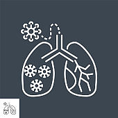 Lungs Infection related vector thin line icon.