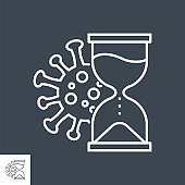 Incubation period related vector thin line icon