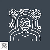 Immunity related vector thin line icon.
