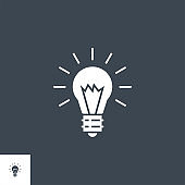 Bulb Flat related vector glyph icon.