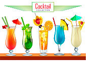 Illustration collection of various cocktails decorated with fruit tubes and umbrellas.
