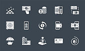 Banking icons set. Related vector glyph icons.