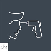 Infrared thermometr related vector thin line icon