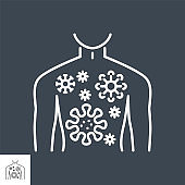 Infection related vector thin line icon