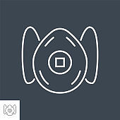 FFP2 medical mask related vector thin line icon.