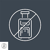 Avoid Travel related vector thin line icon