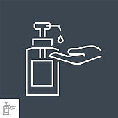 Hand sanitizer related vector thin line icon