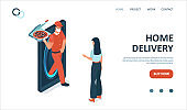 Vector landing page of express restaurant delivery service with courier in face mask delivering a pizza to a woman