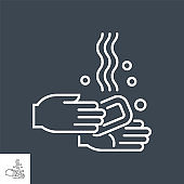 Hand Washing related vector thin line icon