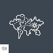 Pandemic related vector thin line icon
