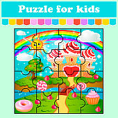 Puzzle game for kids. Illustration of candy land with waffle and cream castle lollipops and berries.  Education worksheet. Color activity page. Riddle for preschool.