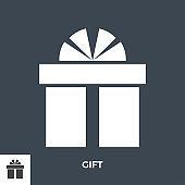 Gift Box Glyph Vector Icon.