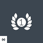 First Place related vector glyph icon.