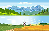 Vector of a rural scene with panoramic scenery of wheat land with windmill and a lake with mountains landscape