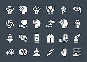 Conscious Living and Friends Relations Glyph Related Icons Set