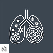 Pneumonia related vector thin line icon.