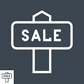 Nameplate Sale Thin Line Vector Icon
