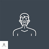 Man with medical mask related vector thin line icon.