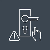Don't touch door handle related vector thin line icon.