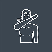 Cough related vector thin line icon.