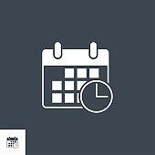 Calendar related vector glyph icon.