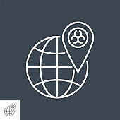 Outbreak virus world related vector thin line icon.