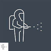 Disinfection related vector thin line icon.