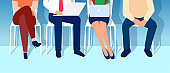 Vector of people sitting on the chairs in the office waiting for job interview. Recruitment concept