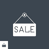 Nameplate Sale related vector glyph icon.